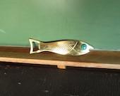 Vintage Fish Shaped Bottle Opener Brass Made in Israel Fish Bottle Opener Vintage Fish