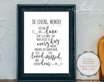 Instant download Printable In Loving Memory, (c0306) Wedding Memorial Table Sign, Memory Sign, Those We love Don't Go Away