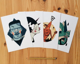 "4 prints ""Classic Monsters"""