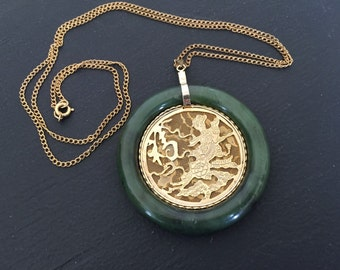 Asian Influence Green Jade Style Circle Pendant Necklace w Gold Metal Cut-Out Scene