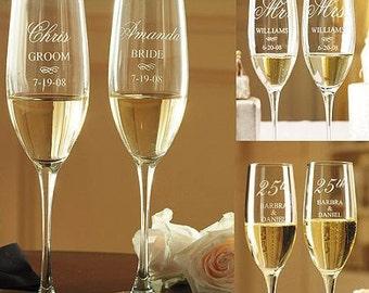 Custom Engraved Champagne Flutes set(2)