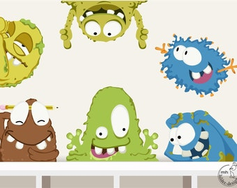 "Wall decal ""Monsters"" nursery creatures aliens wall stickers"