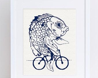 Fish on Bike, Fish Art, Printable, Bike Art, Bike Poster, Bike Printable, Digital Art Print, Digital Download, Art Printable, Art Print