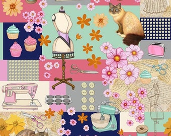 RJR Fabrics Home Seweet Home 2354 01 Multi-colored Novelty by Dan Morris