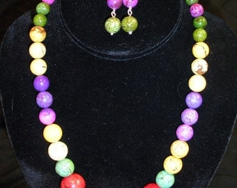 Colorful Graduated Necklace & Earring set