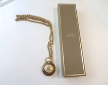 Avon Moonwind Perfume Bottle Necklace Extra Long Golden Moments Perfume Necklace Victorian Timepiece Vintage Avon Jewelry