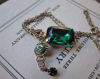 Vintage Style ~ Emerald Pendant ~ Art Nouveau ~ May Birthstone ~ Necklace ~ Green Opal ~ Vintage Glass ~ by LadyofTheLakeJewels