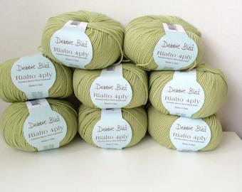 8 x 50g Debbie Bliss Rialto 4 ply wool yarn 100% extra fine merino wool willow 36