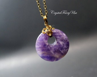 Amethyst Necklace - Amethyst Pendant - Wire Wrapped Amethyst Donut - Amethyst Jewelry - February Birthstone - Bronze Stone Necklace