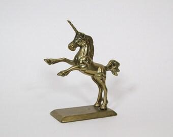 Vintage Mid Century Brass Unicorn Figurine