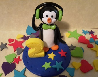 Birthday Cake topper, penguin with headphones, Funny Penguin, Figurine, Handcrafted Art Sculpture, Polymer clay