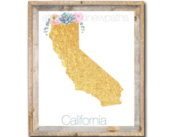 California State Print Gold and Floral DIGITAL