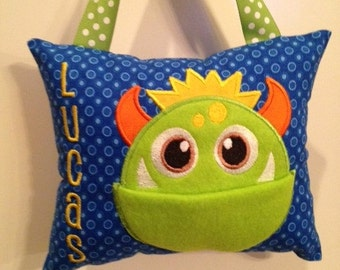 Tooth Fairy Pillow for Boys--Personalized
