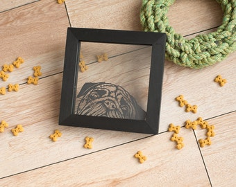 Pug original papercut - cute pug original artwork - framed pug art