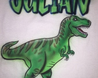 Personalized Airbrushed Kids T-Rex T-shirt