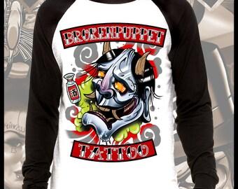 Drunk Hannya Tattoo Art Longsleeve Baseball t shirt