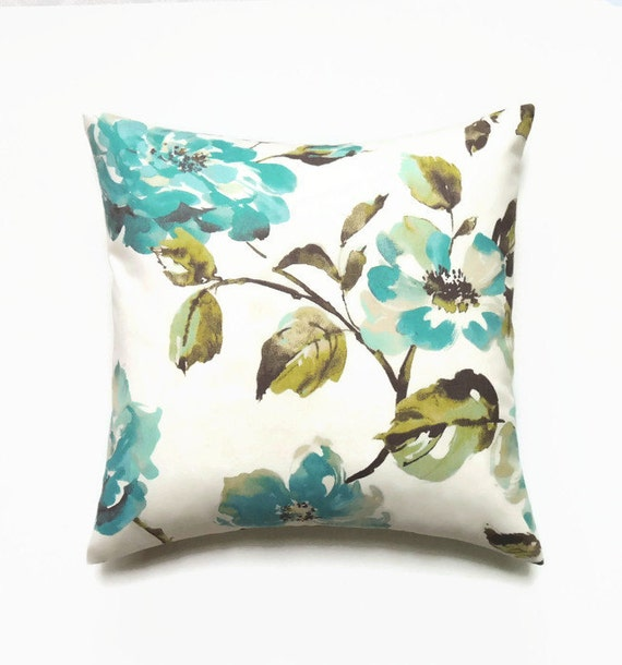 16x16 Decorative Pillow Covers : Floral Pillow 16x16 Pillow Cover Blue Spring Decorative