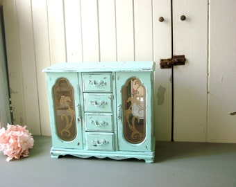 Aqua Jewelry Box, Shabby Chic Vintage Jewelry Holder, Distressed Jewelry Box, Cottage Chic, Necklace Holder, Beach Cottage, Gift Ideas