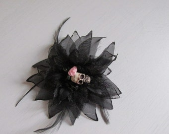 Black steampunk shimmer feather satin petals rose flower gothic skull day of the dead hair tie. Fascinator, brooch,  costume party