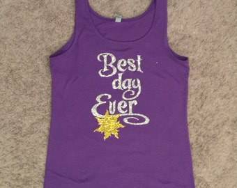 Best Day Ever Tangled-inspired Girls/Ladies Glitter Short-Sleeve T-Shirt or Tank
