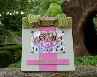Delta Zeta Large Bow Table Top Frame with Burlap Ribbon