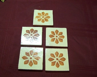 5 handmade clay tiles with stamped flowers, c. 1960s