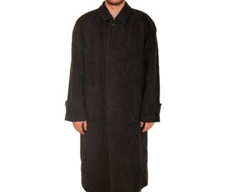Vintage Piet Zoomers Louisiana men trench coat black wool cashmere