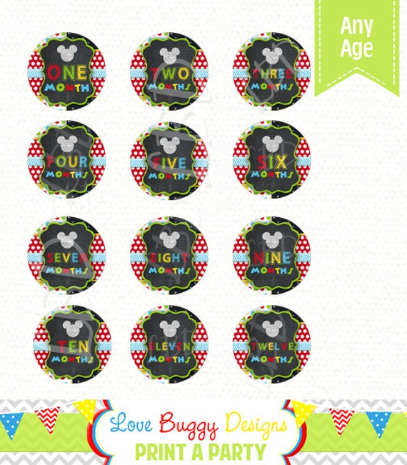 mickey mouse month banner printable monthly printable