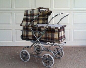 Baby Carriage Stroller/Vintage 3-n-1 Convertible 60's Carriage Pram/Baby Stroller/Portable Bassinette, Lift Out Carriage, Deluxe Stroller.