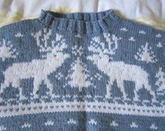 Hand Knitted Light Blue Pullover Sweater Jumper, Women's L/XL w Deer/Elk Trees