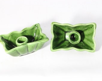 Vintage Camark Pottery Green Candle Holders USA