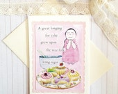 Collaged, Afternoon Tea and Cakes, Handcrafted Greeting Card