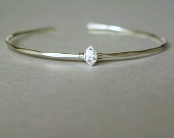 Herkimer diamond cuff-Thin cuff bracelet-Dainty thin hammered cuff-herkimer diamond silver cuff-stacking bracelet-herkimer bracelet
