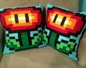 Pixel Fire Flower Pillow Cover