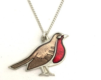 Robin, Bird Necklace in English Pewter, Handmade, Gift Boxed, Xmas (h-24)