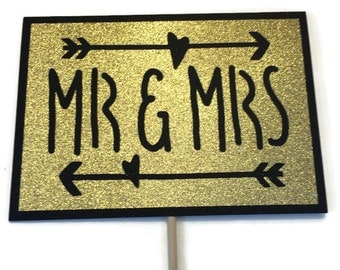 Photo Booth Props- Mr. & Mrs Sign- Wedding Photo Booth Prop with Glitter - You Choose Glitter Color