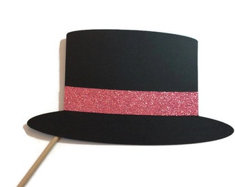 Photo Booth Prop- Top Hat with Glitter- Photo Booth Props