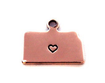 2x Rose Gold Plated Kansas State Charms w/ Hearts - M132/H-KS