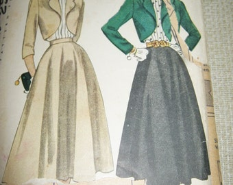 1940's or1950's Skirt And Jacket Pattern, Simplicity Pattern #2372, Size 14 Junior Misses And Misses Bolero Suit And Blouse