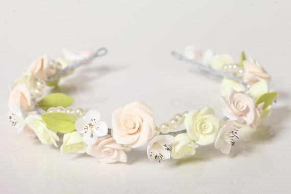 hair clay flowers, floral wreath ,coronet,  hair decoration, hair accessories, white, violet, ivory roses