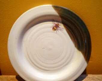 Pottery bee side plate stoneware