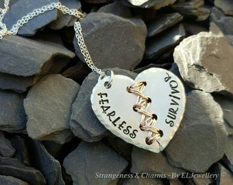 Hand stamped 'Fearless Survivor' Aluminium Broken Heart Necklace, PTSD awareness, Unique, Stitched Heart, Word Jewellery, Wirework, Heart.