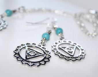 Turquoise Earrings, Visuddha Silver Chakra Earrings, Silver Earrings, Throat Chakra Earrings, Yoga Jewelry, Healing Jewelry, Chakra Jewelry