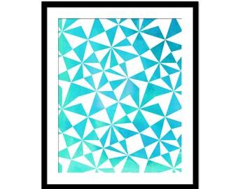 Turquoise Abstract Geometric Art Print