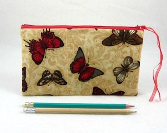 Butterfly pencil case, make-up bag, gadget case, Zipper pouch, Pencil holder, School supplies, butterfly purse