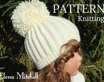 Knitting PATTERN Girls Beanie Women Hat Accessories Children Hat Knit Womens Hats Toddler Beanie Knitted Toddler Hat Girls Hats Knit Pattern