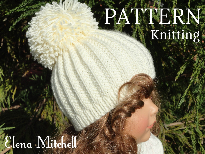 Women s Beanie Knitting Pattern : Knitting PATTERN Girls Beanie Women Hat Accessories Children