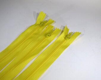 3pc zipper 30cm / 12 inch yellow closed end (Z74)