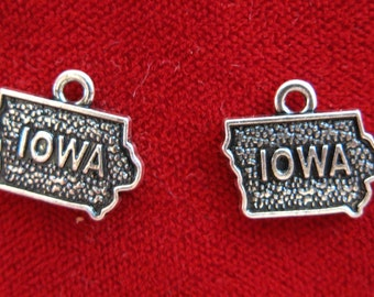 """10pc """"Iowa"""" charms in antique silver (BC932)"""