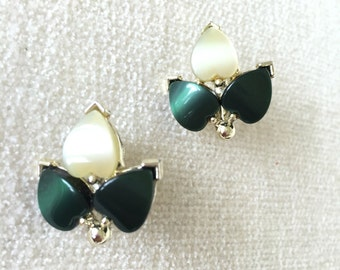 Green lucite clip on earrings